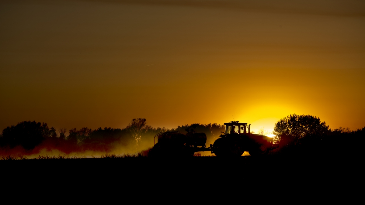 tractor planting in sunset