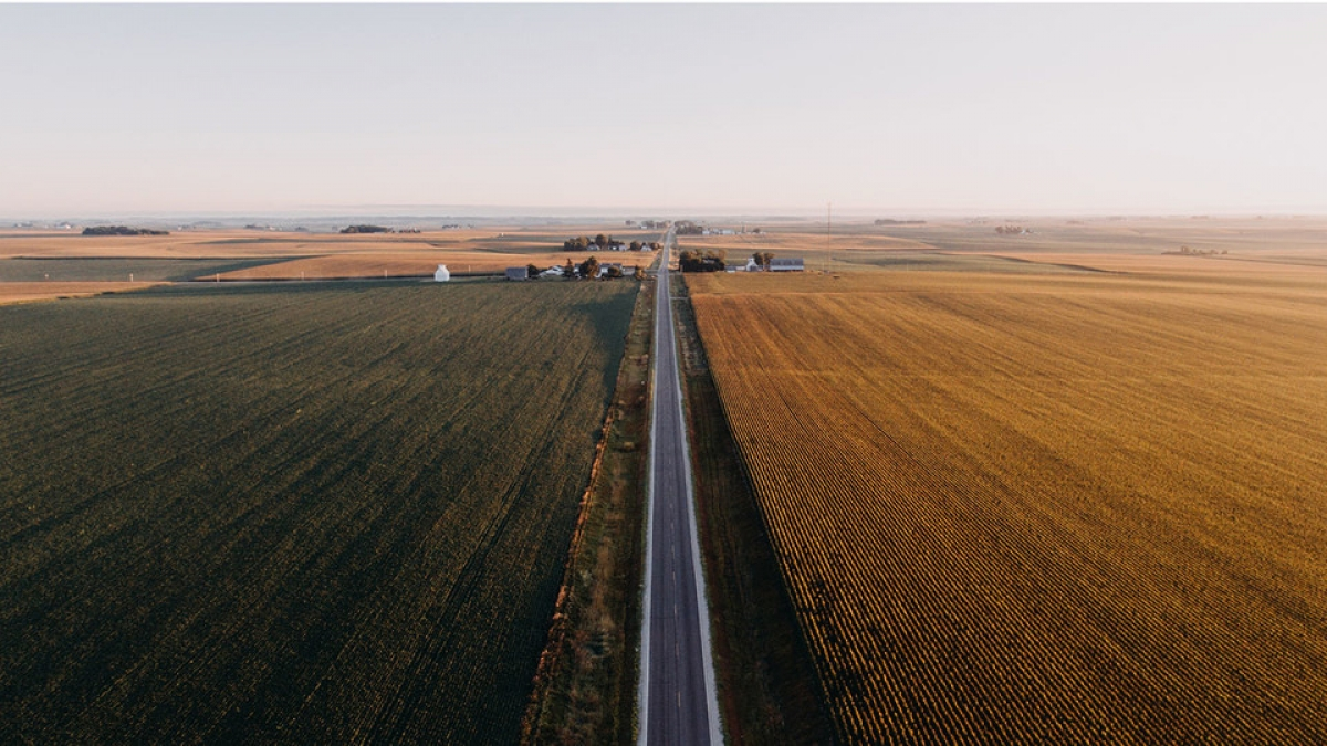 overhead view of rural road