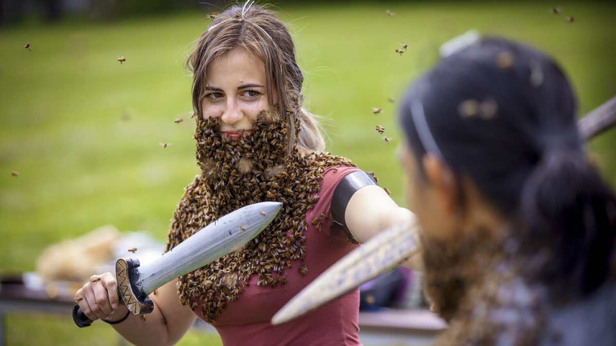 woman with a sword and beard of bees