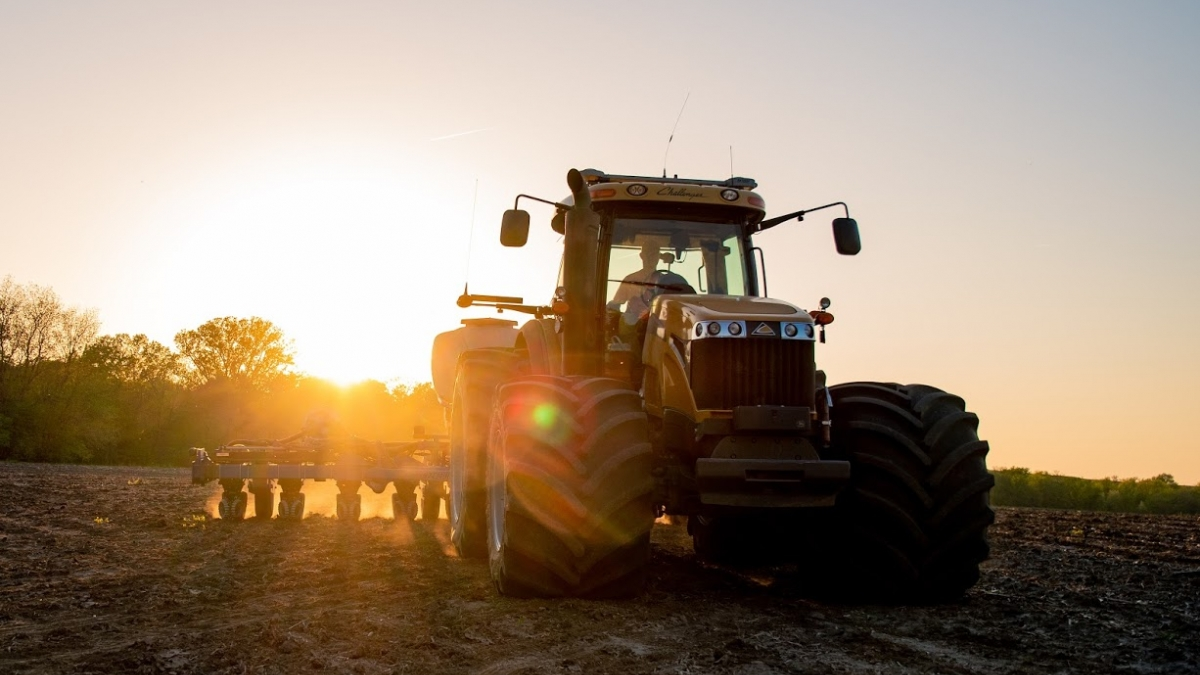 tractor in the sunset