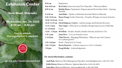 Weed Science School itinerary.