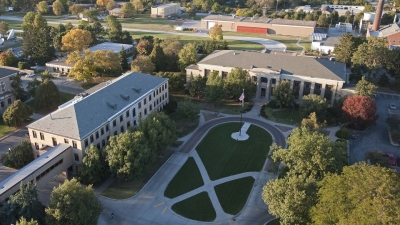An aerial view of Chase and Leverton Halls. Links to larger image.