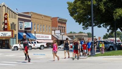 Elementary school students in crosswalk