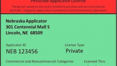 Nebraska Department of Agriculture Pesticide Applicator License example