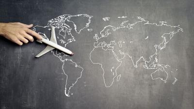 Plane on map