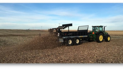 A combine in a field. Links to larger image.