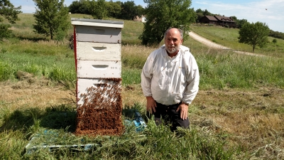A man with a bee hive. Links to larger image.