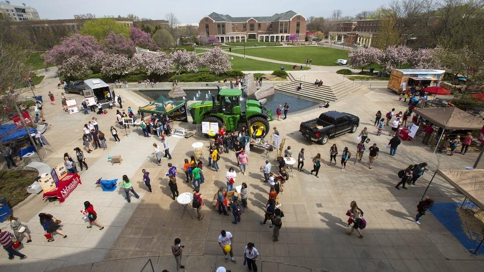 An aerial view of students at Husker Food Connection. Links to larger image.