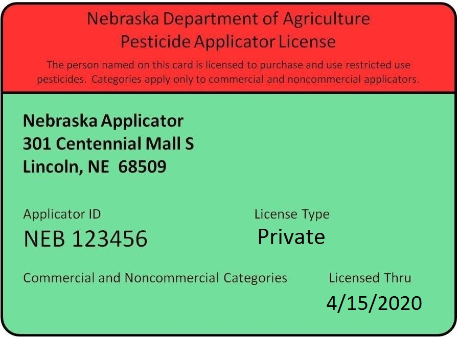 Nebraska Department of Agriculture Pesticide Applicator License example