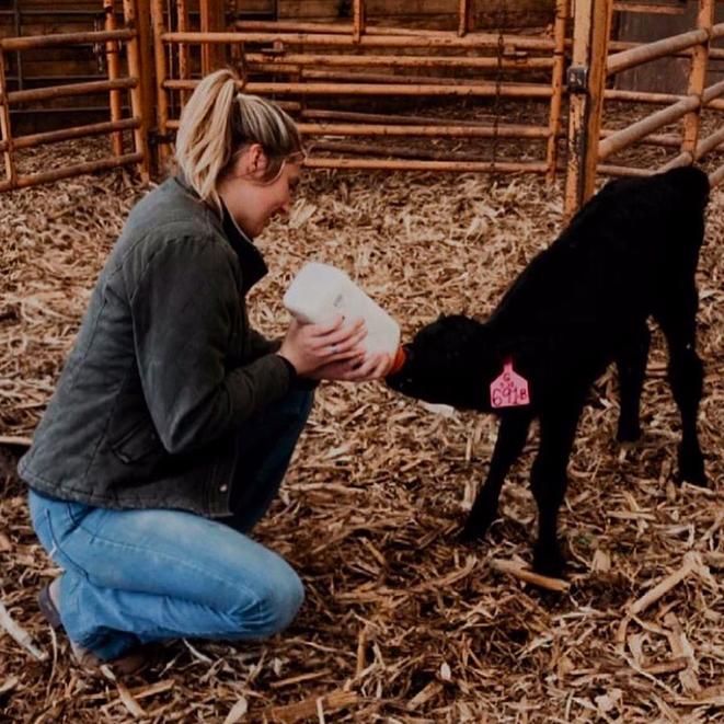 Anna Kobza feeding a calf