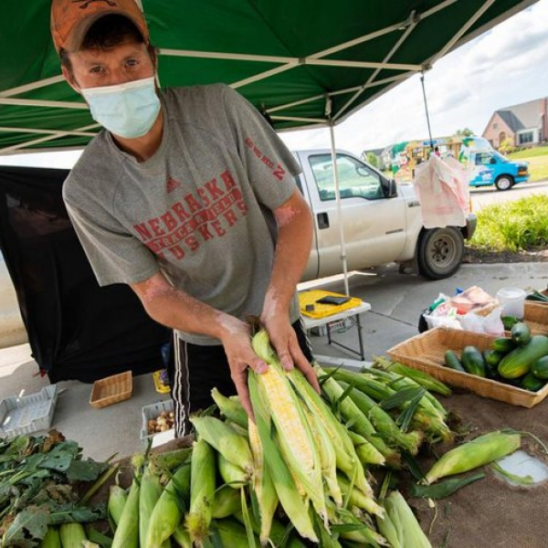 Vendors sell their produce at the Fallbrook Farmers Market